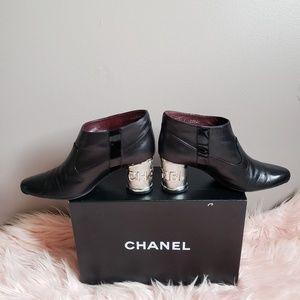 CHANEL Black Leather Logo Metal Heel Ankle Bootie